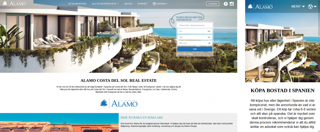 Alamo Real Estate responsiv hemsida