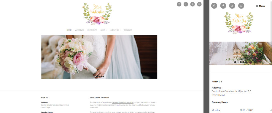 Mobile adapted website for Flor Valentin in Mijas